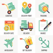 Vector delivery and logistics icons set. Flat design illustrations. Isolated on white background. Set 8.