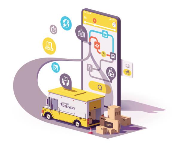 Vector delivery service app illustration vector art illustration