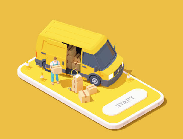 Vector delivery service app illustration Vector parcel and mail delivery service and tracking app illustration, Smartphone with yellow delivery truck, express delivery courier holding cardboard box online shopping stock illustrations