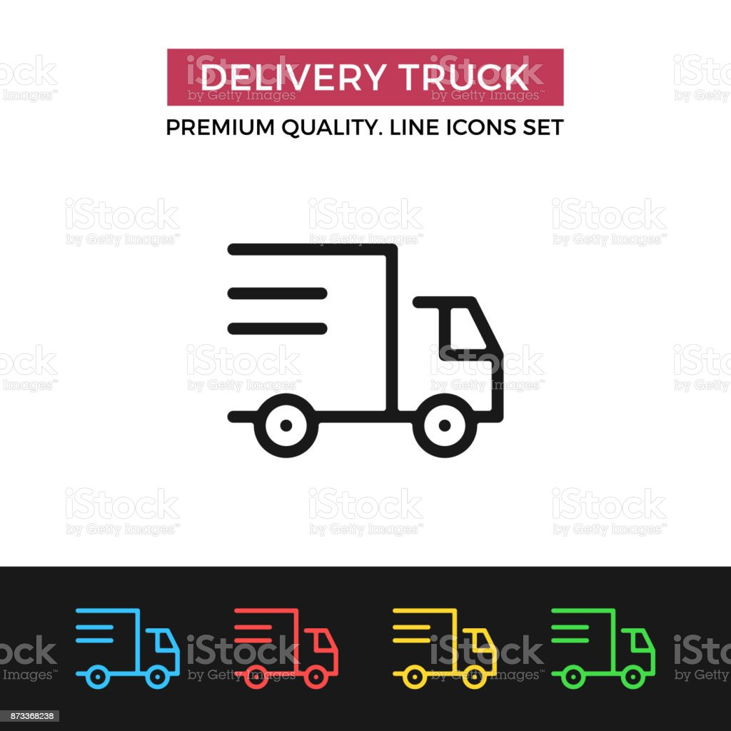 Vector delivery truck icon. Shipping, shipment. Premium quality graphic design. Modern linear stroke signs, pictograms, outline symbols collection, simple thin line icons set for websites, web design, mobile app vector art illustration