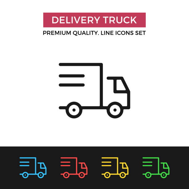 vector delivery truck icon. shipping, shipment. premium quality graphic design. modern linear stroke signs, pictograms, outline symbols collection, simple thin line icons set for websites, web design, mobile app - delivery van stock illustrations, clip art, cartoons, & icons
