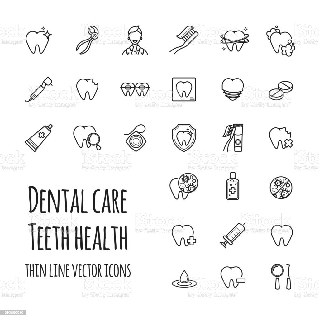 Vector dental care icons set. Thin line icons of teeth health, dentistry, medicine vector art illustration