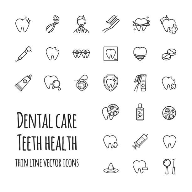 Conjunto de ícones do vetor cuidados dentários. Ícones de linha fina de dentes saúde, odontologia, medicina - ilustração de arte em vetor