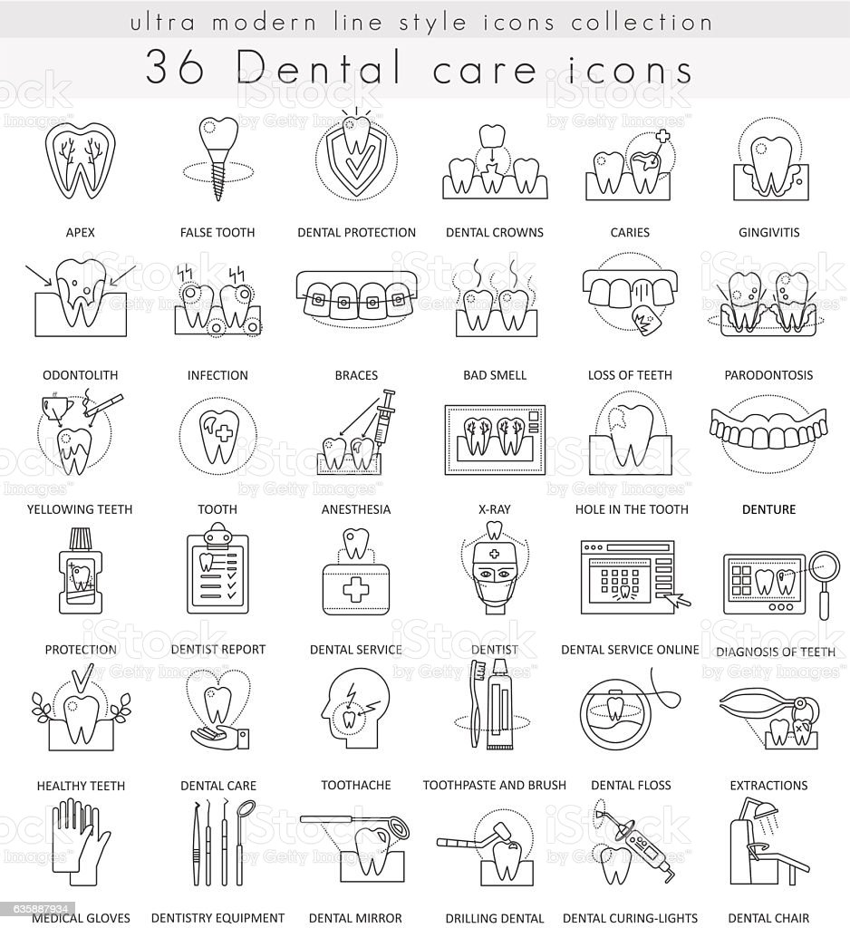 Vector Dental care ultra modern outline line icons for web vector art illustration