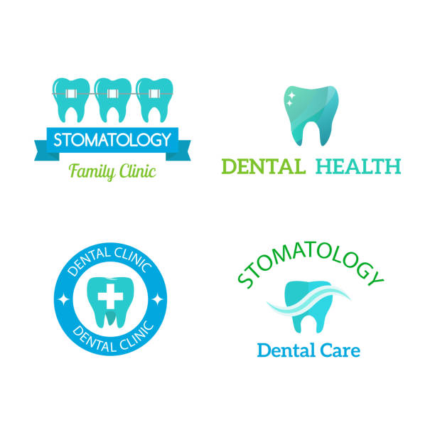 vektor dental zahnmedizin klinik abzeichen icon - zahnarzt logos stock-grafiken, -clipart, -cartoons und -symbole