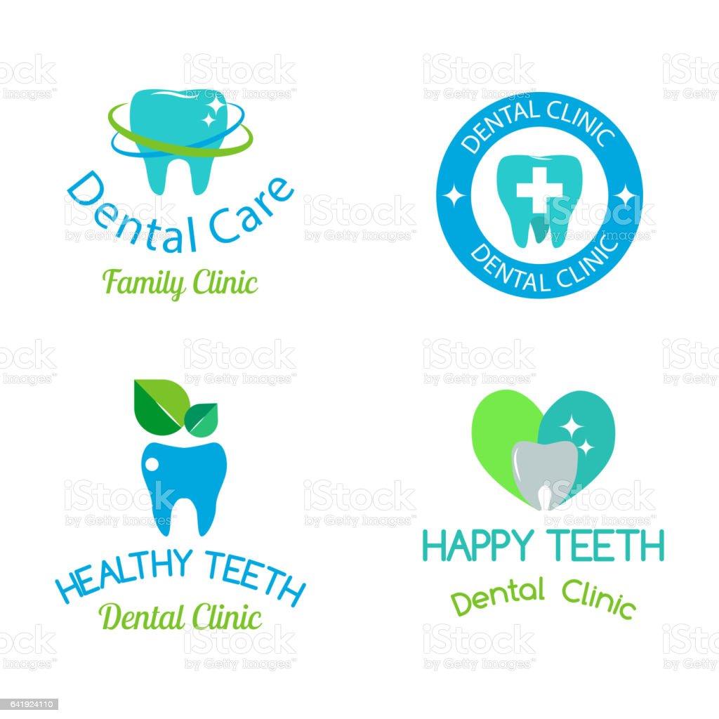 Icono de vector dental Estomatología clínica insignia - ilustración de arte vectorial