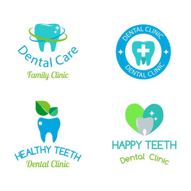ilustraciones, imágenes clip art, dibujos animados e iconos de stock de icono de vector dental estomatología clínica insignia - logos de dentista
