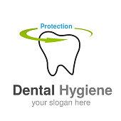 Vector dentist logo design template. Tooth line symbol for Dental clinic or mark for dental hygiene- illustration