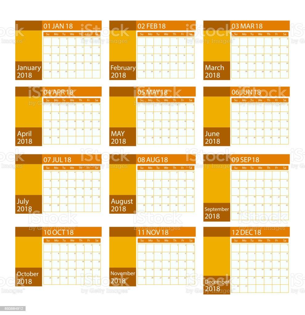 vector design kalender planer f r 2018 12 monate stock vektor art und mehr bilder von 12 13. Black Bedroom Furniture Sets. Home Design Ideas