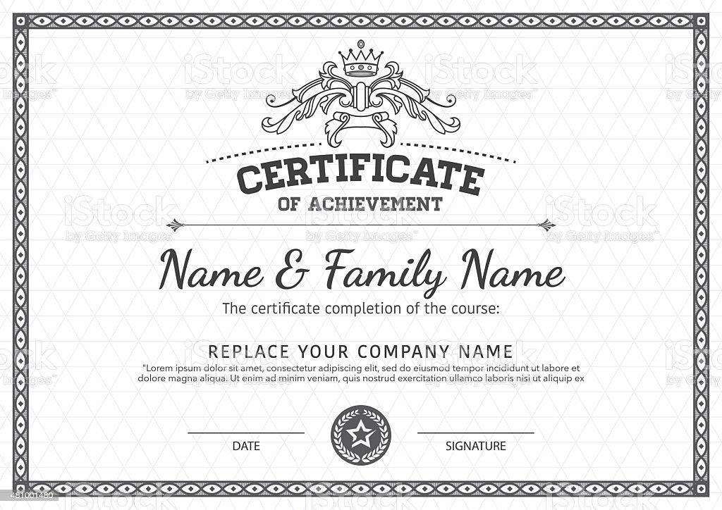 Zertifikat Vorlage Vektordesign Stock Vektor Art und mehr Bilder von ...