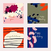 Vector design collection with Four Celebration cards.