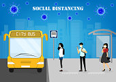 istock A vector design concept of Social Distancing during Coronavirus outbreak at the bus stop_poeple wait for the city bus 1218343788