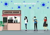 A vector design concept of Social Distancing during Coronavirus outbreak at the coffee shop_people are in the line waiting for the coffee