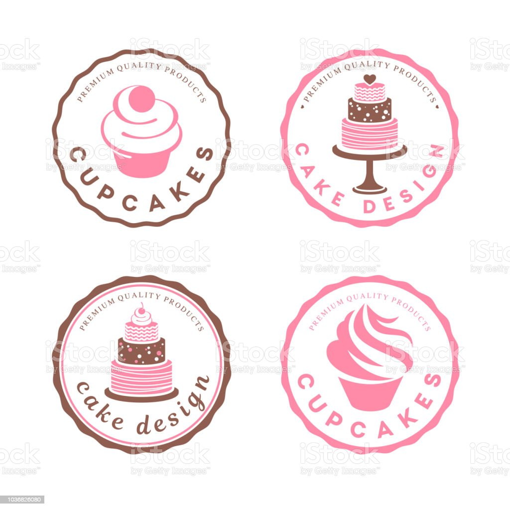 Vector design element. Cake icons set vector art illustration