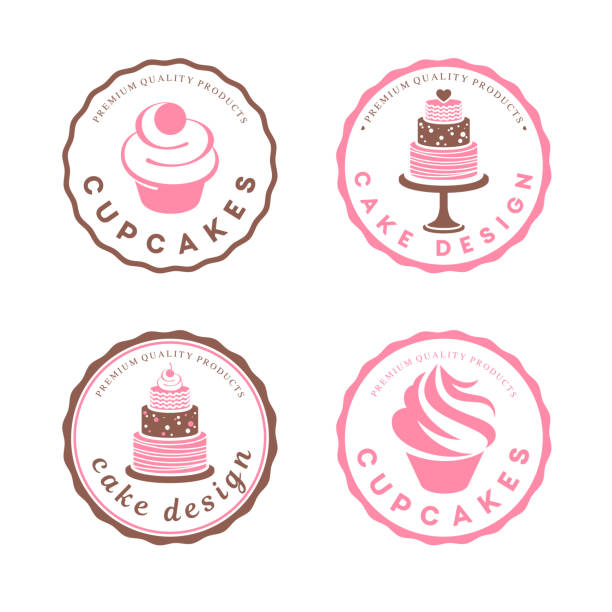 stockillustraties, clipart, cartoons en iconen met vector ontwerpelement. taart icons set - bakery