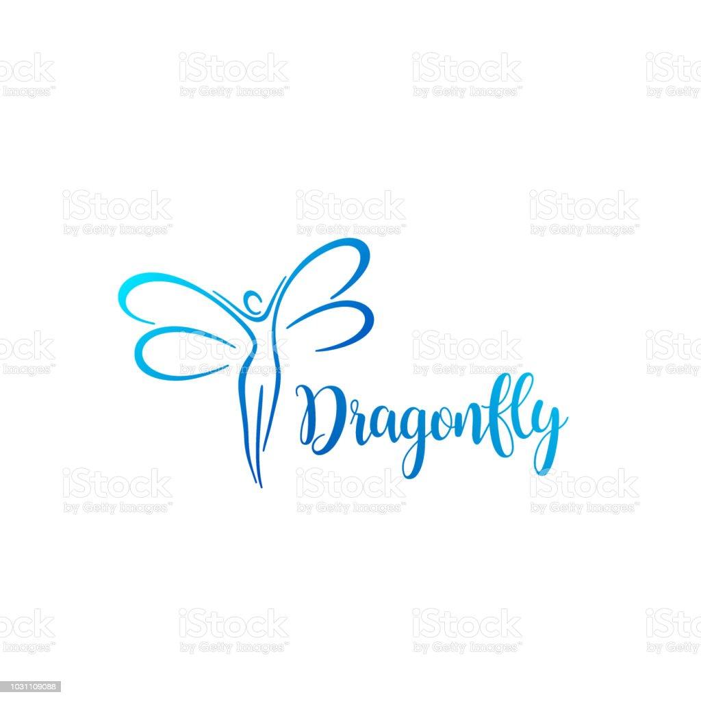 Vector design element. Dragonfly sign vector art illustration