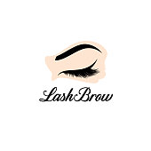 Vector design element for beauty salon. Lash and Brow sign