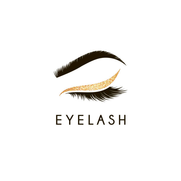 vector design element for beauty salon. lash and brow - makeup stock illustrations
