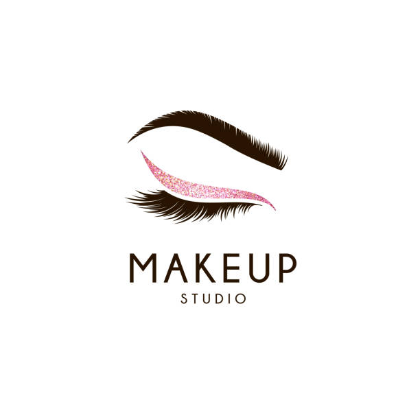 vector design element for beauty salon. lash and brow - makeup fashion stock illustrations