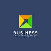 Vector design element for business. Arrow in the square