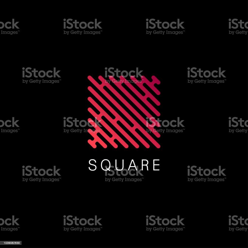 Vector design element for business. Red square sign vector art illustration