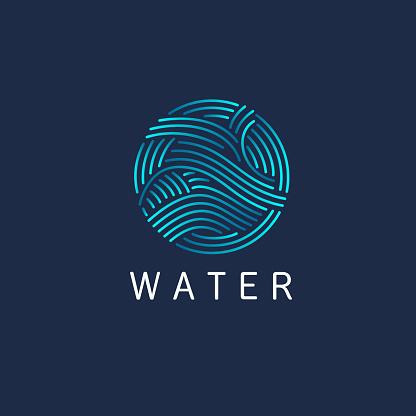 Vector design element. Water sign. Circle with waves