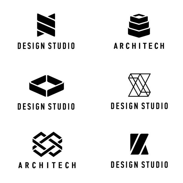 Vector design elements. Design studio and architecture company Vector design elements. Design studio and architecture company k logo illustrations stock illustrations