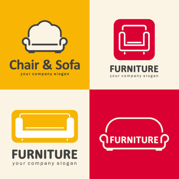 Vector design elements for furniture store. Sofa and chair icons Furniture store. Sofa and chair icons armchair stock illustrations