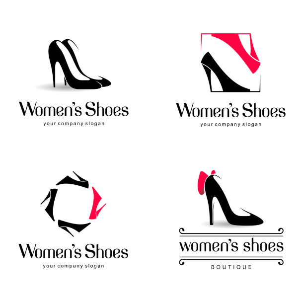 vector design elements for shoes store - shoes fashion stock illustrations, clip art, cartoons, & icons