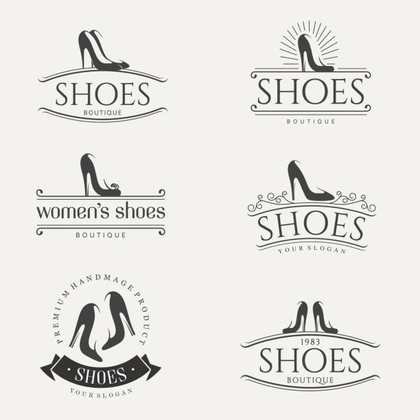Vector design elements for shoes store. Vintage icons vector art illustration