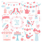 Vector design elements for wedding invitations and birthday party. Bird, birdhouse, flower, butterfly, cake, heart