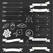 vector design elements on blackboard. Arrows, Ribbons, floral elements and hand drawn alphabet