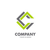 Vector design emblem for business. C letter icon