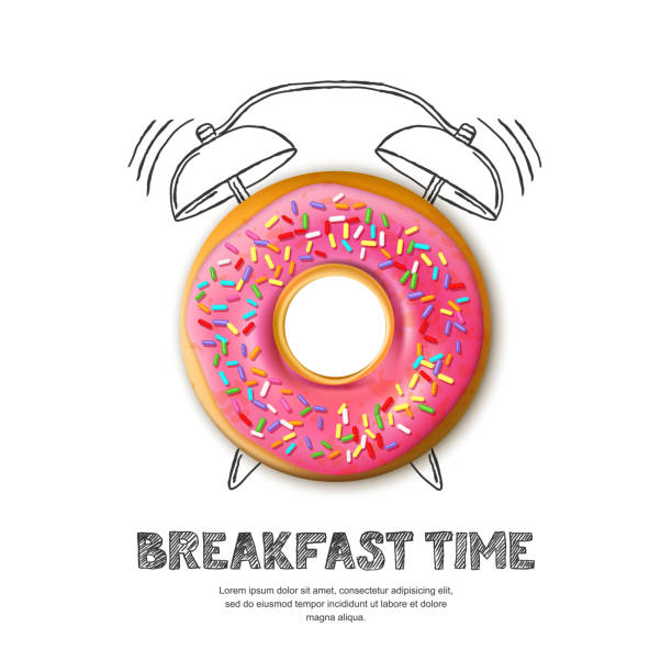 Vector design for breakfast menu, cafe, bakery. Donut and hand drawn alarm clock isolated on white background vector art illustration