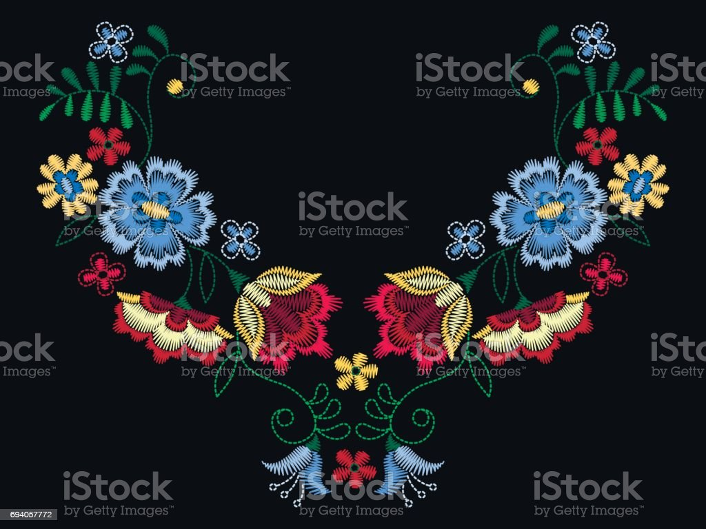 Vector design for collar t-shirts and blouses. Colorful ethnic flowers neck line. Embroidery for Fashion. vector art illustration