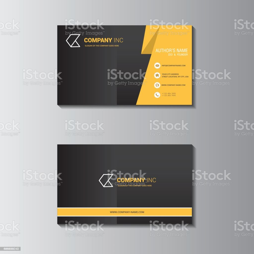 Vector Design Formal Yellow Modern Business Card stock vector art ...