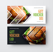 Vector design gift voucher with arrows for the image. Universal white and black flyer template for food advertising. Blurred photo for an example.