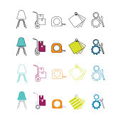 Set of design related icons. Includes vector outline and color fill versions.