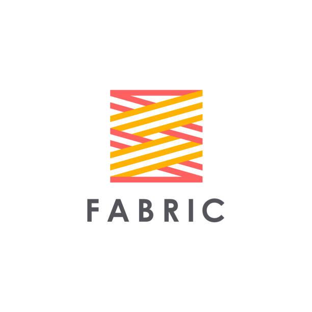 vektor-design-icon-vorlage für shop-stoff, stricken, textil. - wollteppich stock-grafiken, -clipart, -cartoons und -symbole