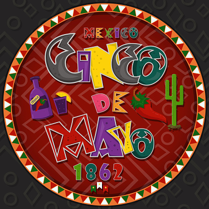 vector design in circular ornament_4_on Mexican theme celebrating Cinco de mayo in flat lettering calligraphy in circle