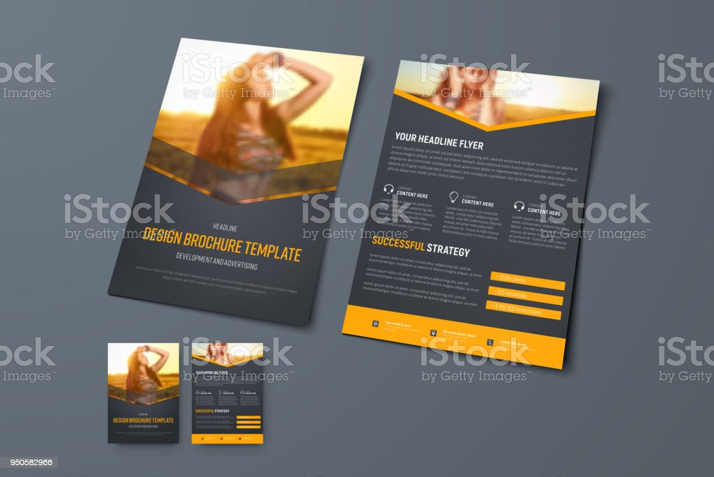 Vector Design Of A Black Brochure With Orange Arrows And A Place For