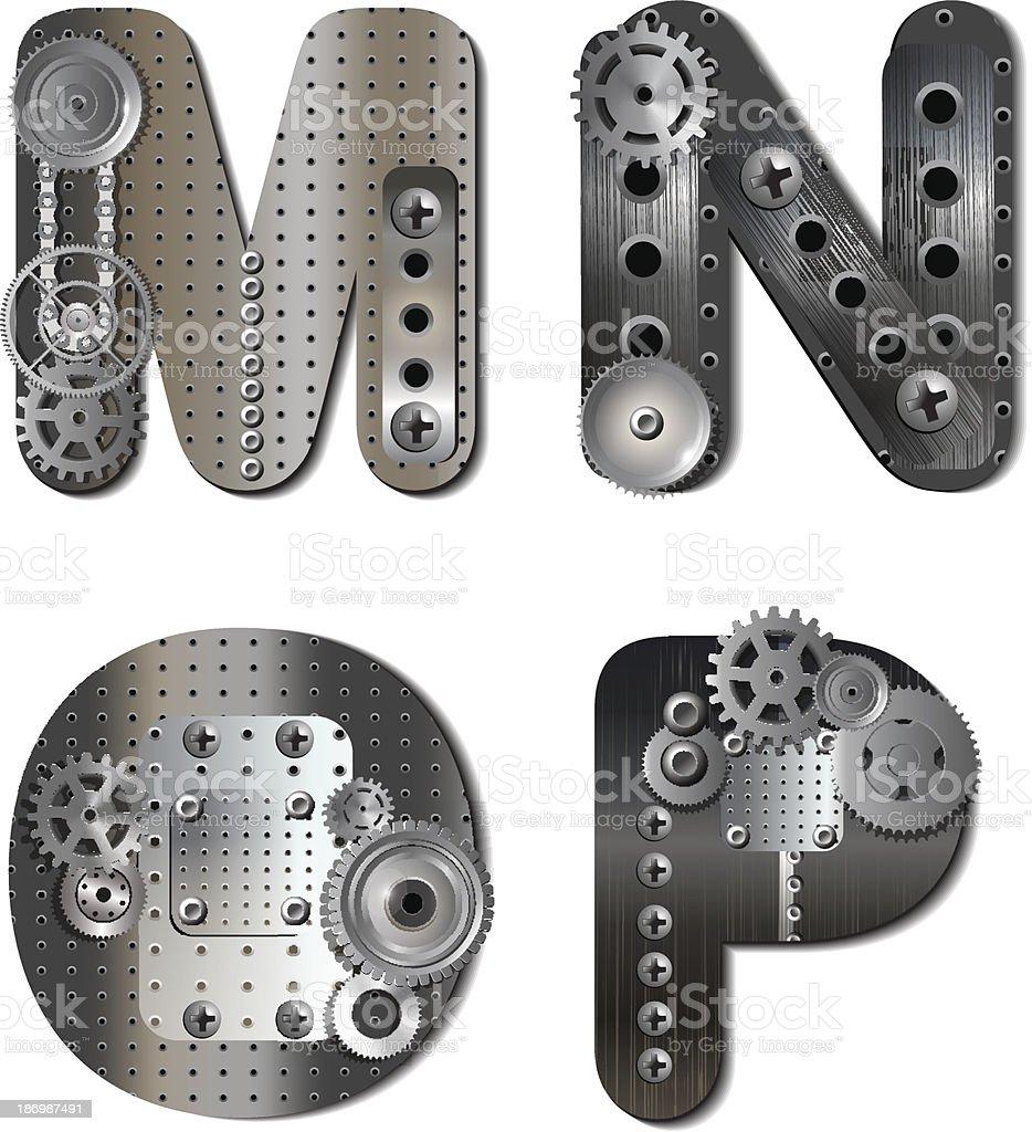 Vector design of alphabet using mechanical gears and shapes royalty-free vector design of alphabet using mechanical gears and shapes stock vector art & more images of alphabet