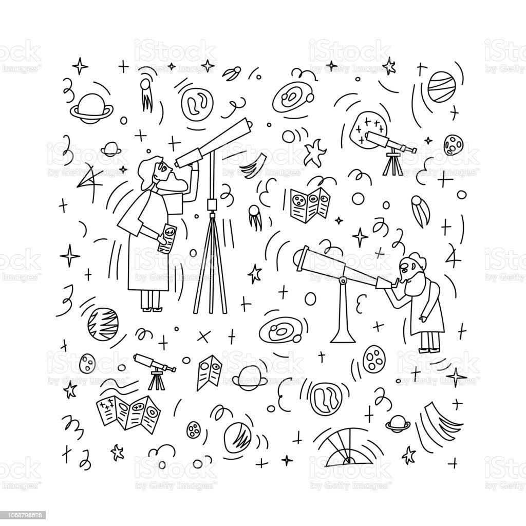 Conception de vecteur des astronomes et des objets spatiaux. - Illustration vectorielle