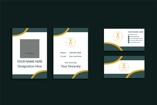 Vector design of business card and badge with logo for yoga.