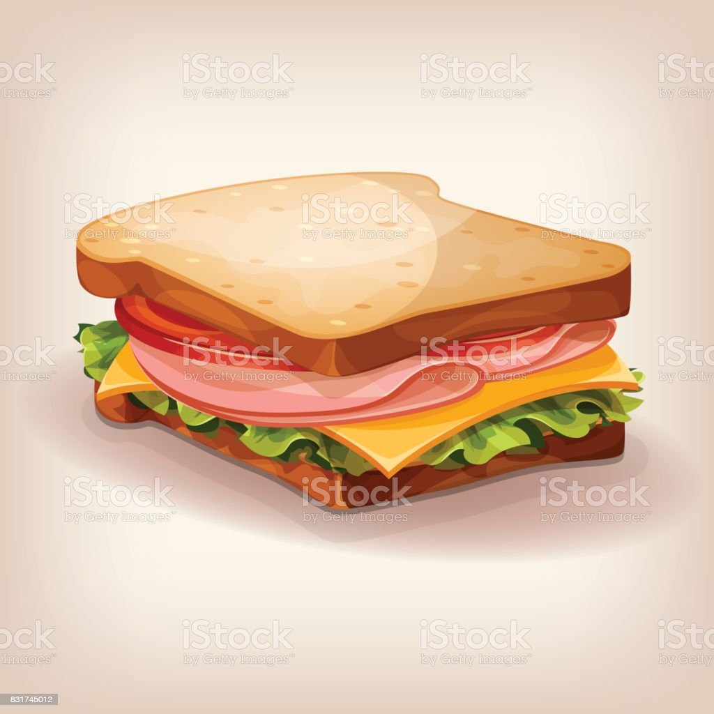 Vector design of delicious sandwich with fresh lettuce, tomato, cheese and ham. Cartoon style icon. Restaurant menu illustration. vector art illustration