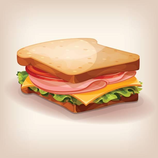 illustrazioni stock, clip art, cartoni animati e icone di tendenza di vector design of delicious sandwich with fresh lettuce, tomato, cheese and ham. cartoon style icon. restaurant menu illustration. - panino
