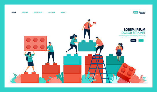 Vector design of game,, business chart. people collaborate to solving problem, complete puzzle plastic block game to build and developing business intelligence or BI. strategy in achieving growth success