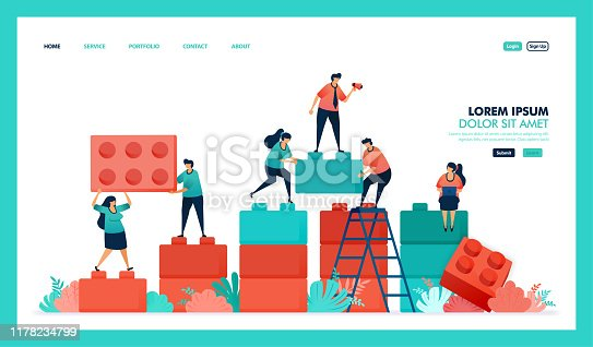 Vector design of game,, business chart. people collaborate to solving problem, complete puzzle lego game to build and developing business intelligence or BI. strategy in achieving growth success