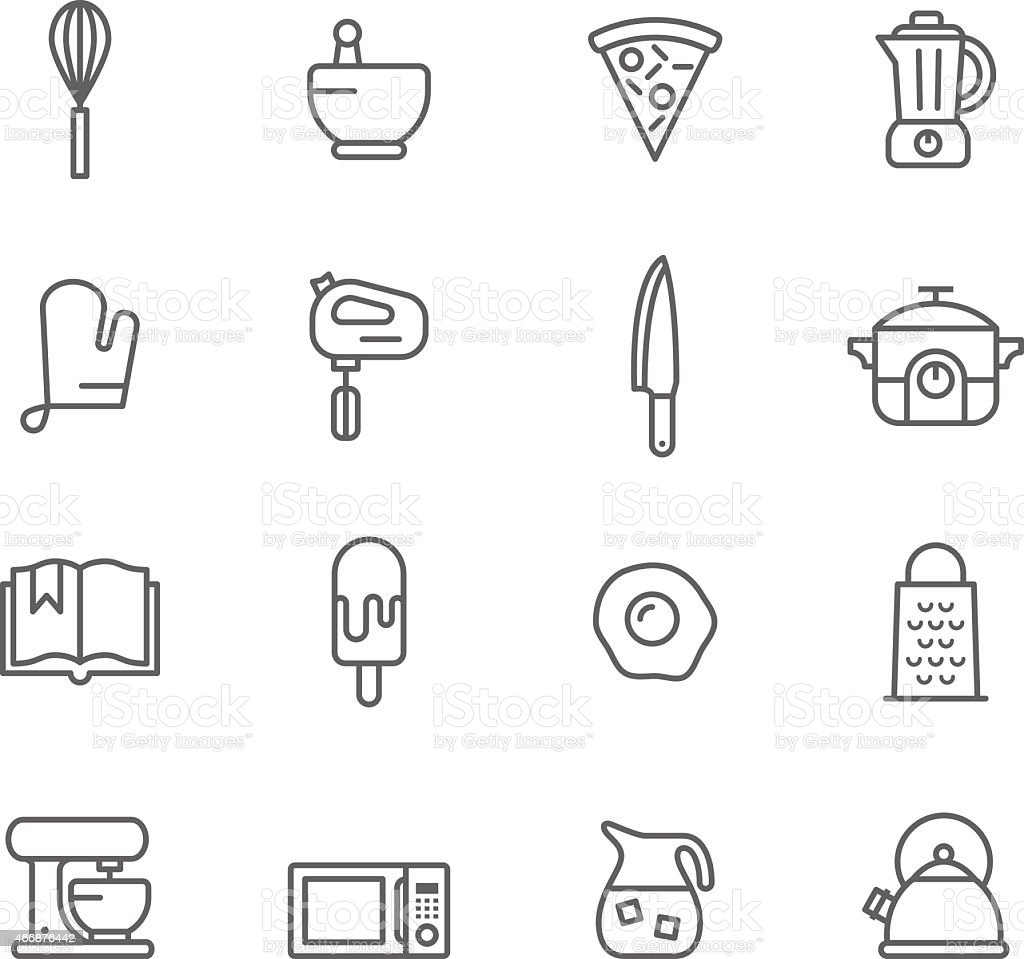 Vector design of kitchen icons vector art illustration
