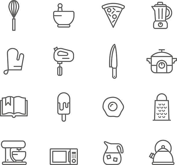 icon-set, küche - küchenmixer stock-grafiken, -clipart, -cartoons und -symbole